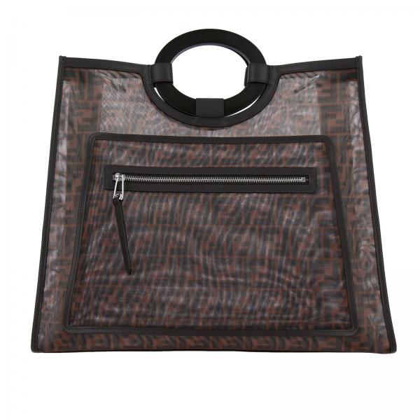 Große Fendi Tasche aus FF-Netz mit starren Griffen
