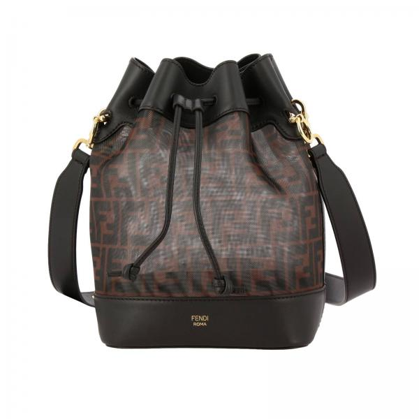 Fendi Mon tresor bucket bag in genuine leather and mesh with FF Fendi logo