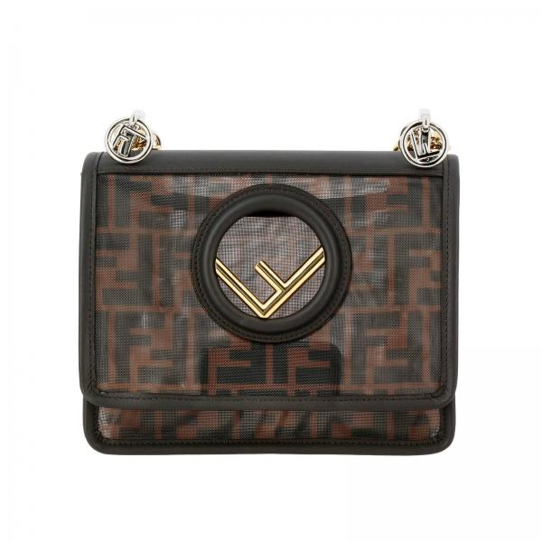 Fendi Kan I small shoulder bag in smooth leather with new Fendi double logo