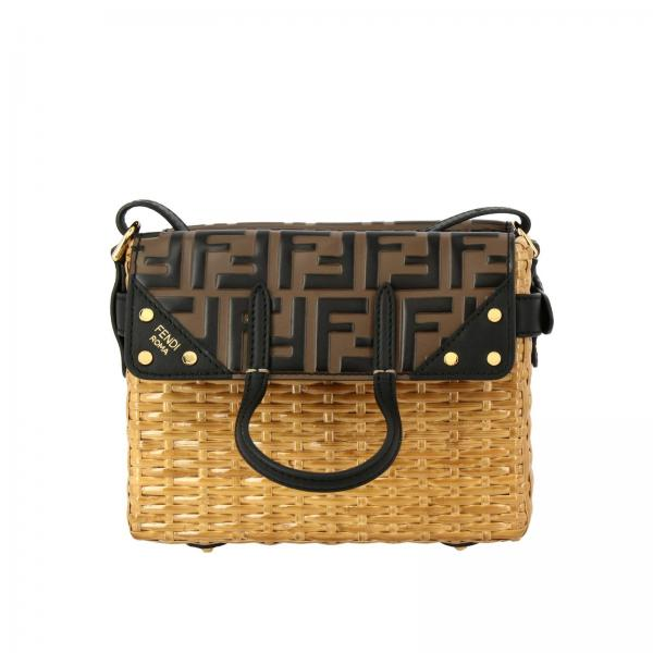 Borsa Flip mini Fendi midollino con dettaglio in pelle FF all over