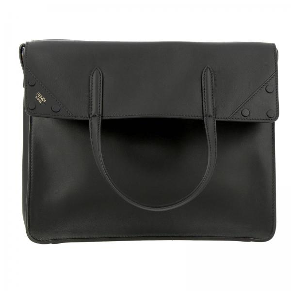 Regular tote bag by Fendi in smooth leather with FF shoulder strap