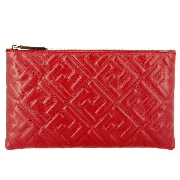 Fendi Large leather clutch bag with maxi FF monogram by Fendi embossed