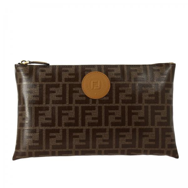 Fendi Large clutch bag in vitrified leather with FF by Fendi maxi print and leather emblem
