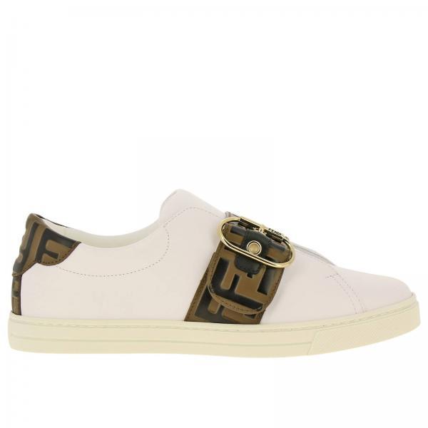 Sneakers Fendi slip on in pelle con fibbia FF all over