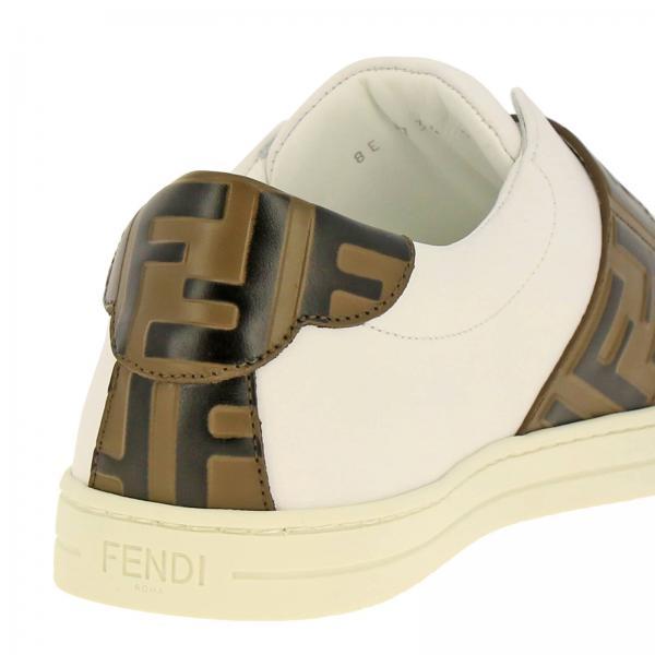 Sneakers Donna Fendi Bianco   Sneakers Fendi Slip On In Pelle Con Fibbia Ff All Over   Sneakers Fendi 8e6734 A83j