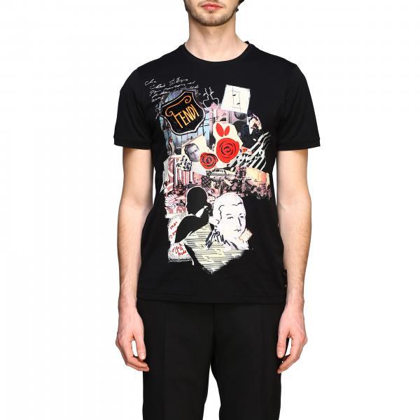 T-shirt Fendi a girocollo con maniche corte e maxi stampa collage
