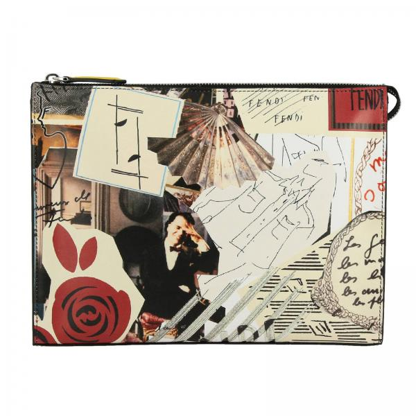 Fendi Clutch aus Leder mit Collage-Print