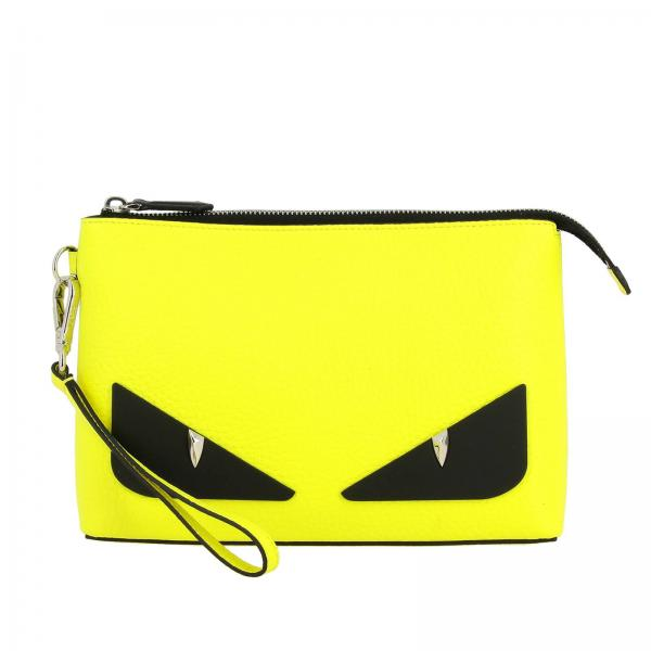 Clutch Fluo bugs Fendi in pelle con maxi Eyes Bag Bugs gommati
