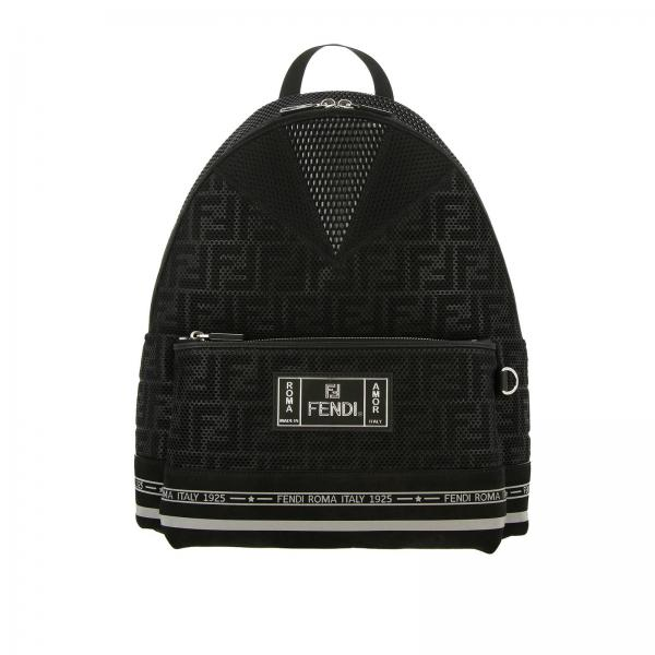 Fendi FF Roma backpack in mesh and nylon with maxi logo