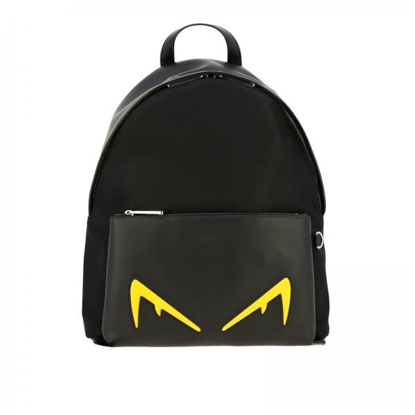 Fendi leather and nylon backpack with diabolical Eyes Bag Bugs in contrasting leather