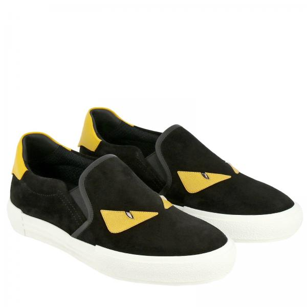 Sneakers Uomo Fendi Nero | Sneakers Fendi Slip On In Pelle E Crosta Con Bag Bugs | Sneakers Fendi 7e1152 A1gv