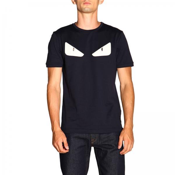 T-shirt Fendi a girocollo con maxi Eyes Bag Bugs in pelle