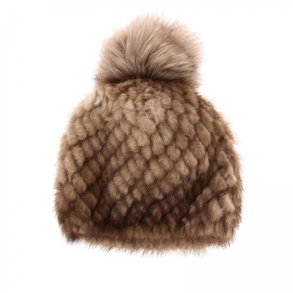 Bonnet Delia Max Mara en vison tricoté avec pompon en fourrure
