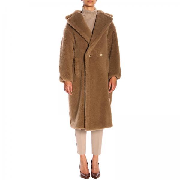 Manteau croisé Teddy Max Mara effet ourson chameau et de soie