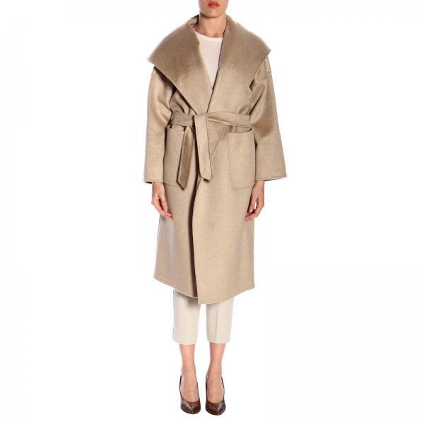 Manteau Marilyn Max Mara en cachemire avec capuche over et ceinture