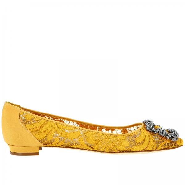 Hangisi Manolo Blahnik ballet flats in lace with smoky rhinestone buckle