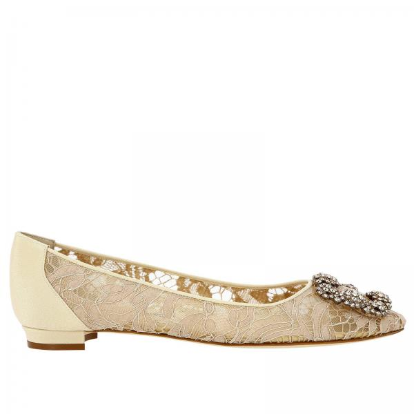 Hangisi Manolo Blahnik lace ballet flats with mordoré rhinestone buckle