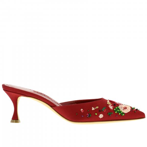 Yolamu Manolo Blahnik Mules in satin with beaded embroidery