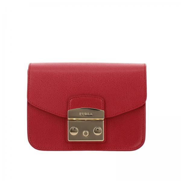 Metropolis Furla mini bag in textured leather with shoulder strap