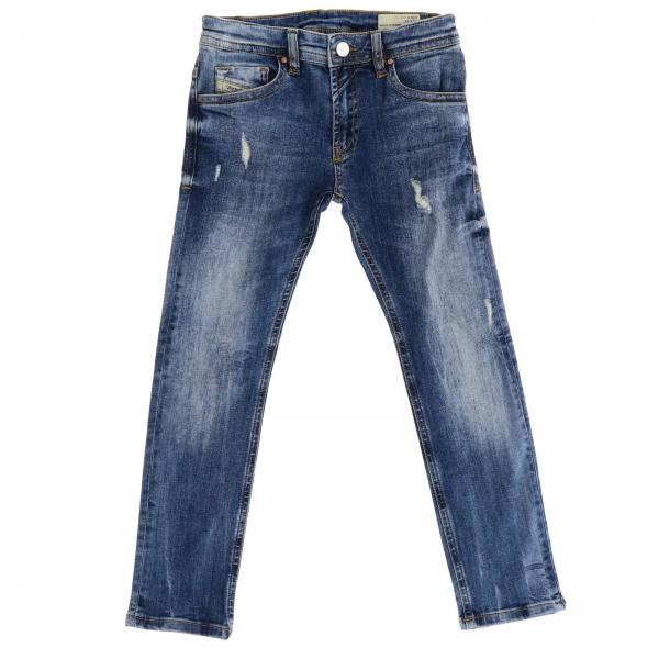 Schmale Thommer Diesel Jeans in Stretch-Used-Denim mit Rissen