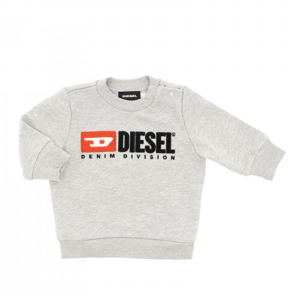 Diesel crew neck sweatshirt with logo and press studs