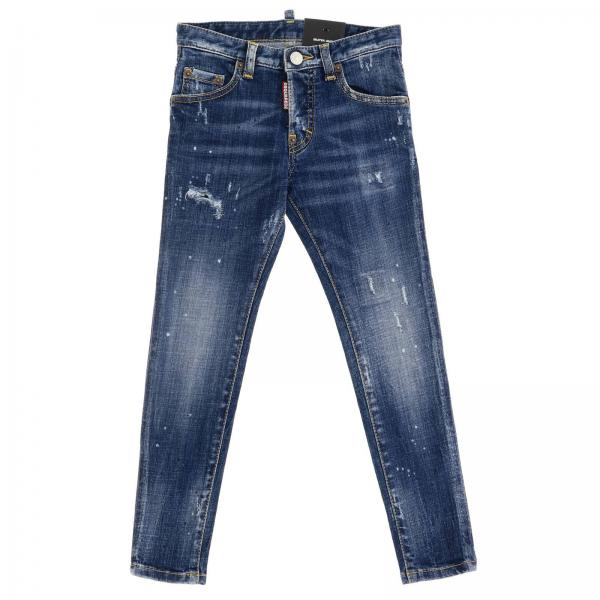 Jeans Skater Dsquared2 Junior in denim stretch used con rotture