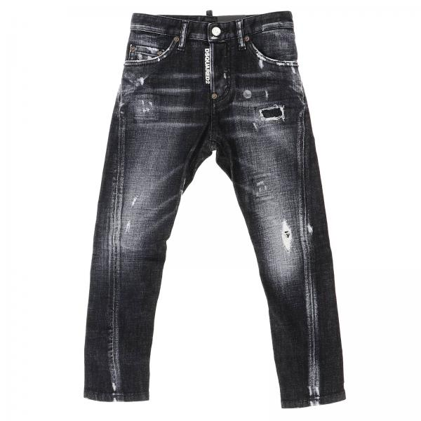 Jeans Kenny twist Dsquared2 Junior in denim used slim stretch con rotture