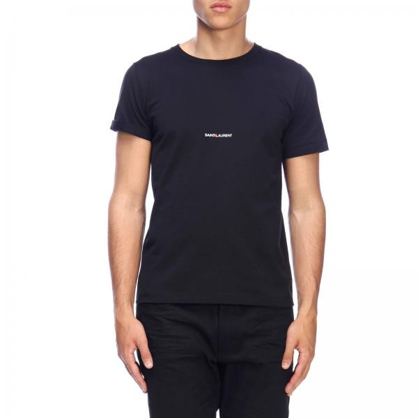 T-shirt a girocollo basic in jersey con micro stampa Saint Laurent