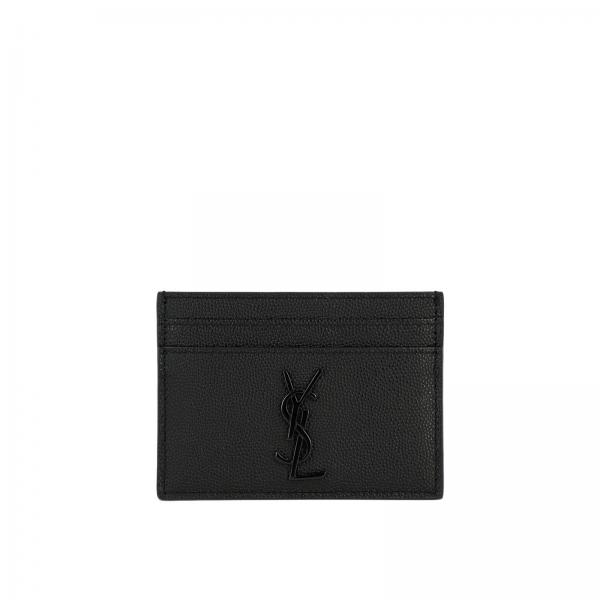 Card holder in genuine leather with YSL Saint Laurent logo