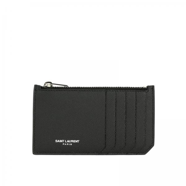 Porta carte di credito Saint Laurent con zip