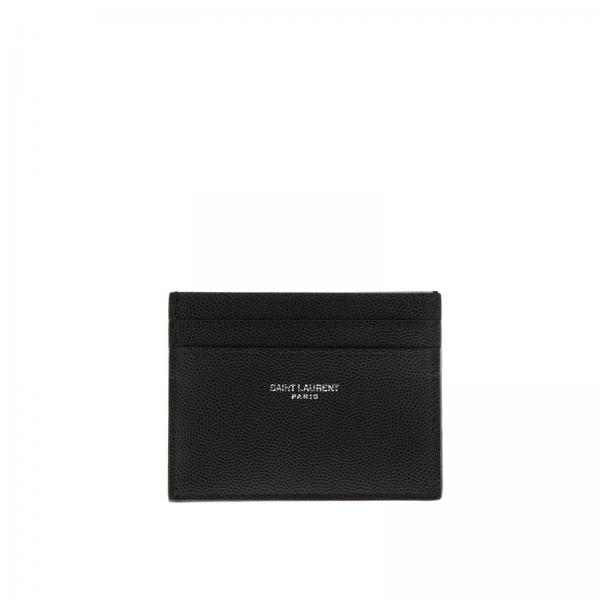 Card holder in genuine leather with Saint Laurent logo