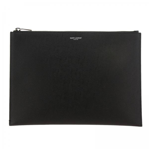 Saint Laurent Medium Clutch aus mattem Grain de Poudre-Leder