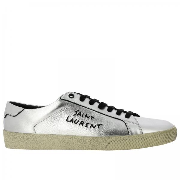 Sneakers stringata in pelle laminata con scritta Saint Laurent