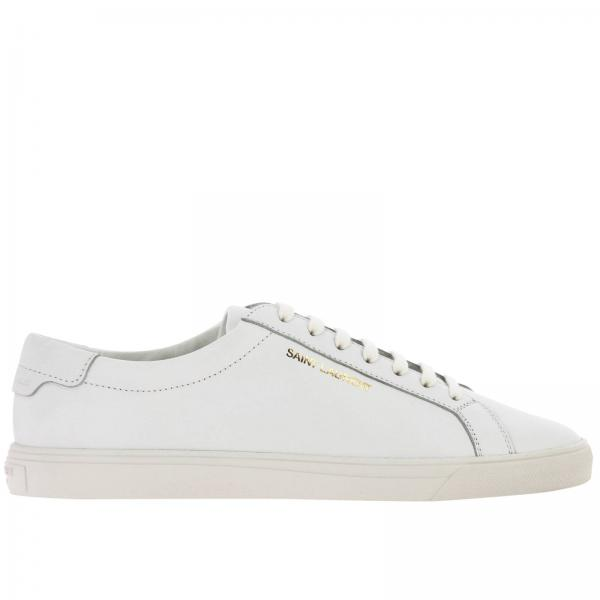 Sneakers stringata in pelle con scritta Saint Laurent