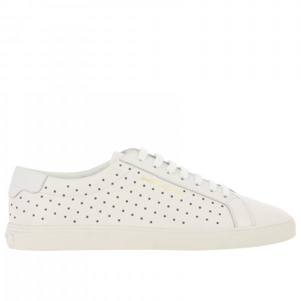 Sneakers Saint Laurent stringata in pelle con micro borchie e logo