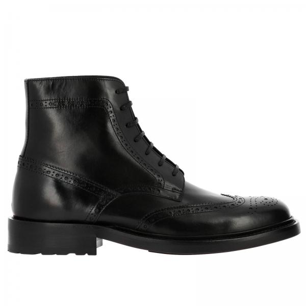 Anfibio Army Saint Laurent in pelle con motivo brogue a coda di rondine