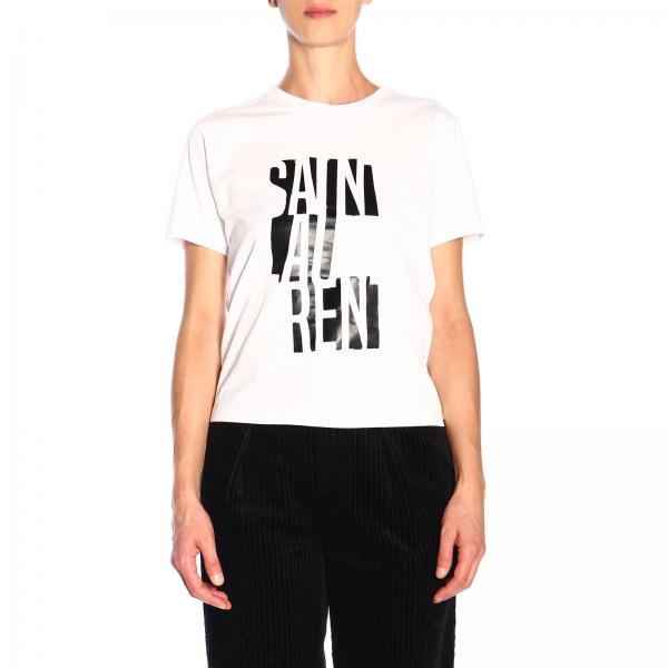 Crew-neck t-shirt in jersey with laminated Saint Laurent logo