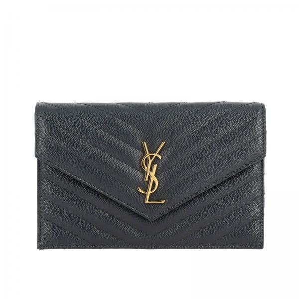 Borsa Monogram envelope chain wallet in pelle grain de poudre trapuntata con logo YSL Saint Laurent
