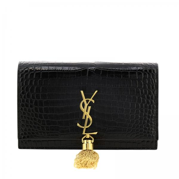 In Chain Vera Stampa Laurent Cocco 452159 Dnd1j Pelle Borsa Con Mini Ysl Wallet Donna NeroKate Saint Monogram 0wm8Nn