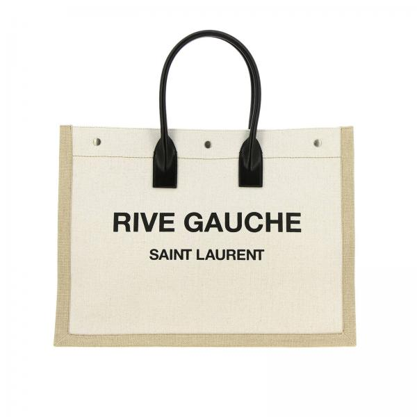Borsa New Shopping large in lino e pelle con stampa Rive Gauche Saint Laurent