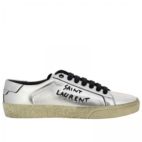 Lace-up sneakers in laminated leather with Saint Laurent lettering