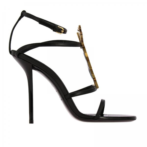 Cassandra Saint Laurent leather sandals with YSL monogram