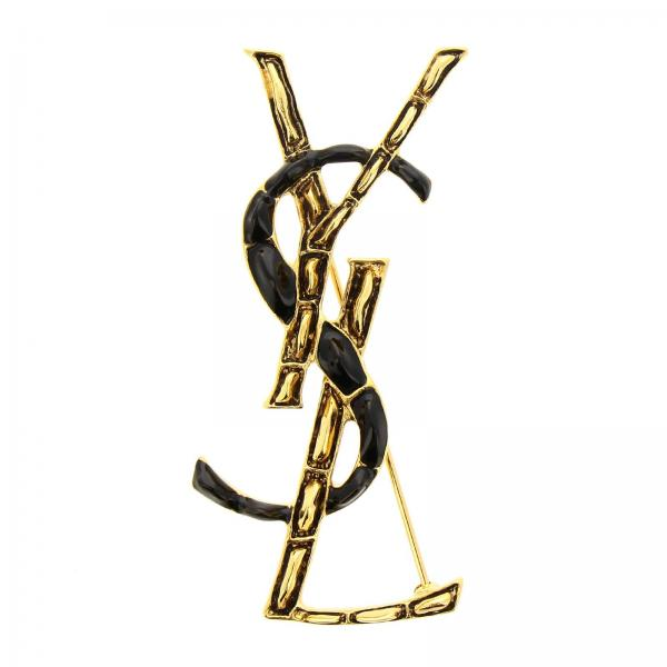 Monogram YSL brooch in brass and varnish with crocodile effect by Saint Laurent
