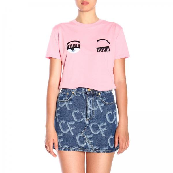 Chiara Ferragni Flirting T Shirt With Eyes Embroidery by Chiara Ferragni