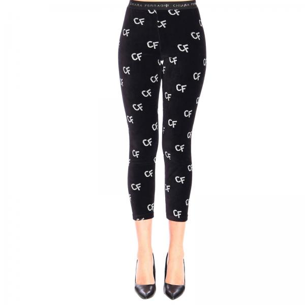 Leggings Chiara Ferragni in ciniglia con logo all over