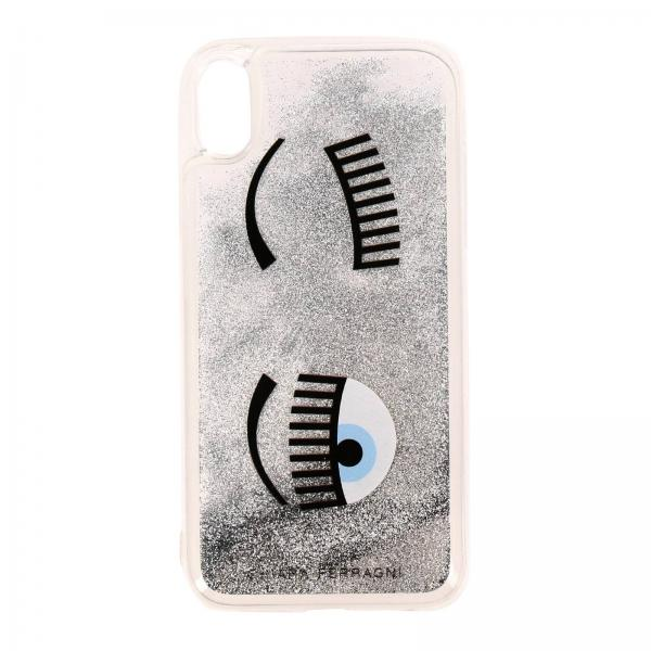 Cover Iphone xr Eyes Flirting Glitter Chiara Ferragni con liquido in movimento