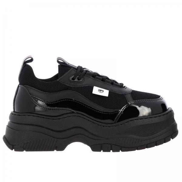 Sneakers Army Chiara Ferragni running in pelle vernice e rete con maxi suola