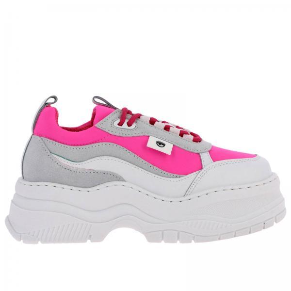 Sneakers Army Chiara Ferragni running in pelle e nylon fluo con maxi suola
