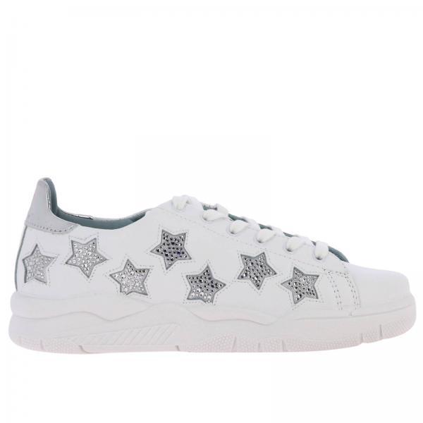 Sneakers Roger Chiara Ferragni stringata in pelle liscia con maxi stelle di strass