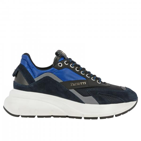 Paciotti 4us Zed 真皮绒面革尼龙填充logo装饰运动鞋